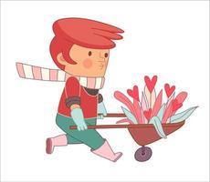 amo jardineiro usando luvas e botas de borracha rosa