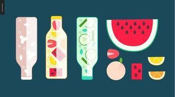 três garrafas e algumas frutas