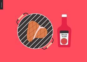 churrasco de carnes grelhadas e ketchup vetor