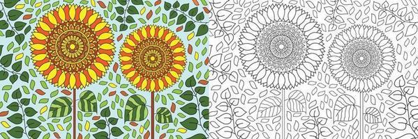 doodle girassol na natureza natureza livro para colorir para adultos e crianças