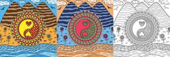 doodle yin yang símbolo em livro de colorir natureza para adultos e crianças