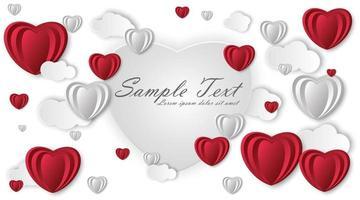 cenário de feliz dia dos namorados. arte em papel, amor e casamento. coração de papel vermelho e branco. ilustração de desenho vetorial