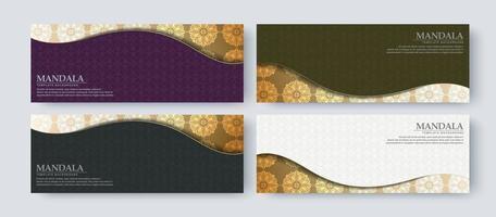 Conjunto de design de banner de luxo com padrão de textura vetor