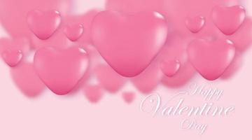 fundo rosa do dia dos namorados, corações 3d em pano de fundo brilhante. ilustração vetorial.