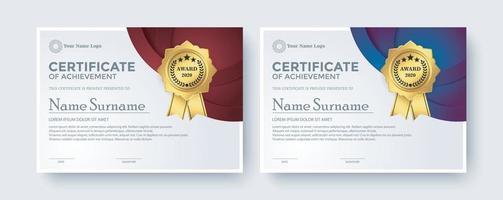 certificado criativo melhor conjunto de modelo de prêmio vetor