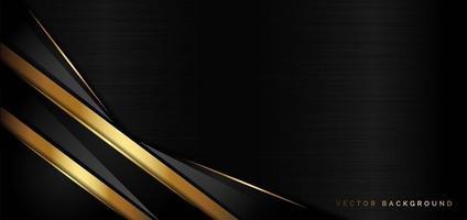 camada sobreposta de luxo modelo abstrato em fundo preto com linhas douradas brilhando. vetor