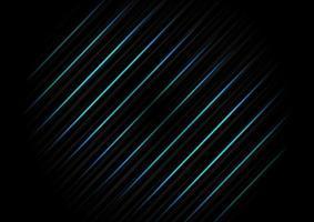 modelo abstrato textura de fundo diagonal linha listrada preta com luz de néon azul. conceito de tecnologia. vetor