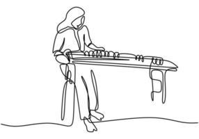 desenho de linha contínua de uma bela garota coreana com cabelo comprido sentada e tocando o instrumento musical tradicional do gayageum