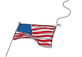 bandeira americana um desenho de linha única contínua isolado no design minimalista de fundo branco. a bandeira do estado da américa está esfarrapada pelo vento. conceito do dia nacional. vetor