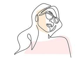 contínuo um desenho de linha de estilo clássico de retrato de mulher em óculos de sol.