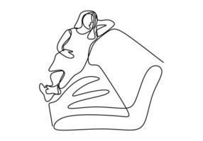 contínuo um esboço de desenho de linha de arte de mulher grávida dormindo.