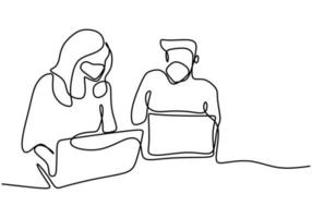 contínuo um desenho de linha de dois trabalhadores de escritório no trabalho usando o laptop. vetor
