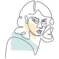 abstrato enfrenta mulheres bonitas. Perfil de rosto feminino linear de moda moderna em estilo de linha mínimo, contorno estético.