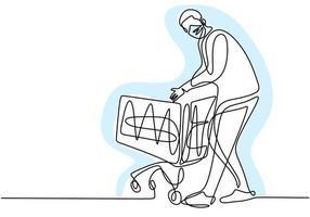 desenho de linha contínua de um homem segurando o carrinho de compras. jovem macho em pé enquanto compra comida no supermercado com máscara protetora para não espalhar covid19. nova transição normal