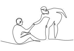 um desenho de linha de pessoas ajuda as outras. jovem ajudando o outro homem que caiu mostra um gesto de solidariedade. dia humanitário. conceito de apoio mútuo. ilustrações vetoriais de estilo mínimo