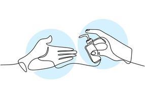 Contínuo um desenho de linha mão segurando líquido sop. desinfetante para as mãos para limpar as mãos e evitar o vírus covid-19. lave sua mão. anti-séptico em frasco isolado no fundo branco