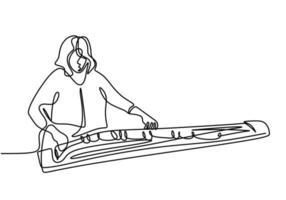 desenho de linha contínua de mulher com koto, música tradicional japonesa. uma jovem está treinando para tocar música tradicional para preservar a cultura tradicional. conceito de música tradicional