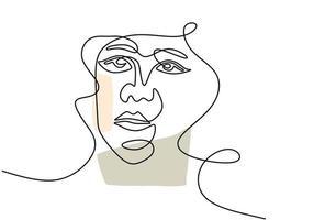 modelo de mulher jovem sorridente contínua de uma linha com cabelo encaracolado. logotipo de figura de beleza feminina isolado no fundo branco. amo seu estilo minimalista de auto-conceito. ilustração de desenho vetorial