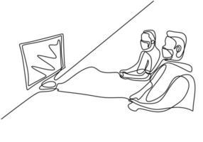 desenho de linha contínua de jogadores com máscara protetora.