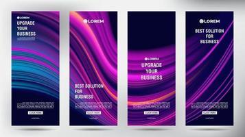 mesh fluxo de cores roll up folheto de negócios panfleto banners vetor