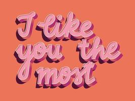 cartão com feliz dia dos namorados mão lettering design. ilustração colorida de mão desenhada com tipografia.