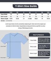 modelo de design de guia de tamanhos de camisetas vetor