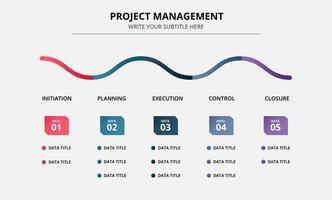 modelo de cronograma do infográfico de gerenciamento de projetos vetor