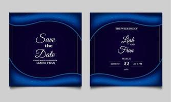 conjunto de design de cartão de convite de casamento elegante salvar a data vetor
