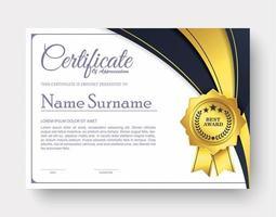 certificado de apreciação melhor conjunto de diploma de prêmio vetor