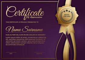 modelo de prêmio de certificado roxo elegante vetor
