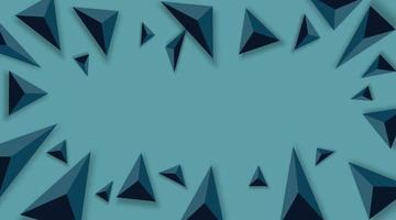 fundo abstrato com triângulos pretos. realista e 3D. ilustração vetorial sobre fundo azul.