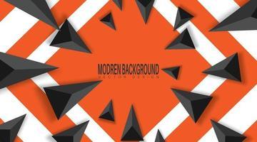 fundo abstrato com triângulos pretos. realista e 3D. ilustração vetorial em fundo laranja.