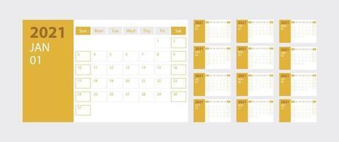 calendário 2021 semana começa domingo modelo de planejador de design corporativo em fundo amarelo vetor
