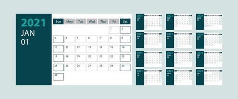 calendário 2021 semana começa domingo modelo de planejador de design corporativo sobre fundo verde vetor