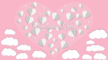 amo o design do vetor. origens do dia dos namorados. estilo de corte de papel. ilustração vetorial