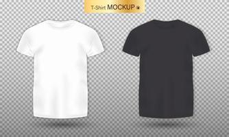 Maquete realista de camiseta masculina preta e branca vetor