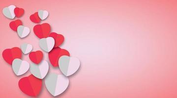 design de papel de arte de coração para plano de fundo dia dos namorados. ilustração de desenho vetorial