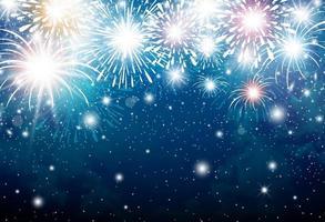 fogos de artifício no fundo do céu azul para o natal e ano novo e outras comemorações vetor