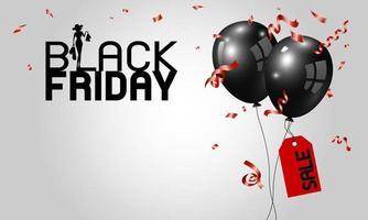 desenho de banner preto sexta-feira de balões com ilustração vetorial