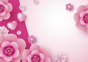design de cartão de dia das mães de flores e fundo de coração com ilustração vetorial de espaço de cópia vetor