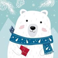 design de cartão de Natal e ano novo de urso polar com lenço segurando uma caixa de presente vermelha na ilustração vetorial de inverno