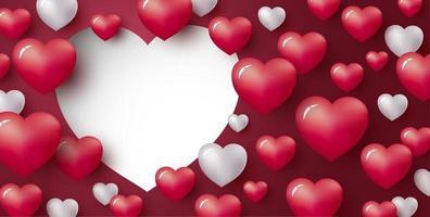 amo o projeto de conceito de coração em fundo vermelho com espaço de cópia dia dos namorados e ilustração vetorial de casamento