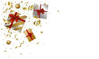 desenho de caixa de presente de natal e ano novo caindo no fundo branco com ilustração vetorial de cópia