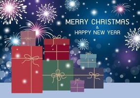 Feliz Natal e Feliz Ano Novo com design de caixa de presente com fogos de artifício em bokeh de fundo