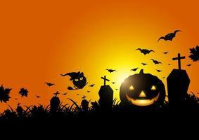 abóbora de halloween na grama e morcego com a luz da lua