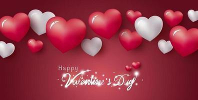 feliz dia dos namorados desenho de corações em ilustração vetorial de fundo vermelho