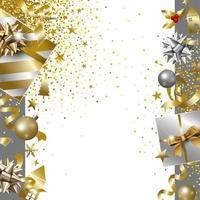 Feliz Natal e feliz ano novo desenho de banner de caixa de presente de luxo com ilustração vetorial de fundo de fita caindo