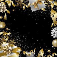 desenho de banner de natal e ano novo com ilustração vetorial de espaço de cópia