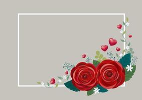 flores rosas com corações e design de moldura branca para ilustração vetorial dia das mães casamento dia dos namorados vetor