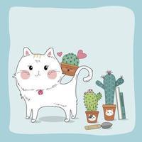 mão desenhada esboço bonito gato e cacto em vaso de flores ilustração vetorial para casa e jardim vetor